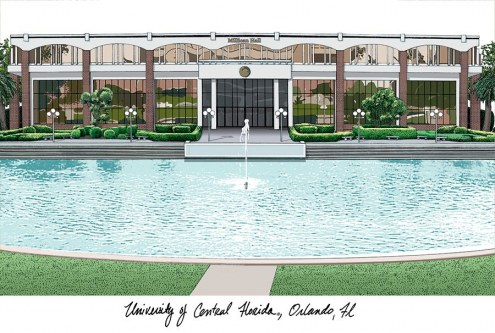 Central Florida Knights Campus Images Lithograph