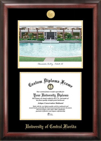 Central Florida Knights Gold Embossed Diploma Frame with Campus Images Lithograph
