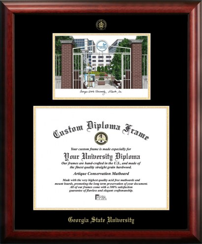 Georgia State Panthers Gold Embossed Diploma Frame with Campus Images Lithograph