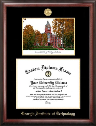 Georgia Tech Yellow Jackets Gold Embossed Diploma Frame with Campus Images Lithograph
