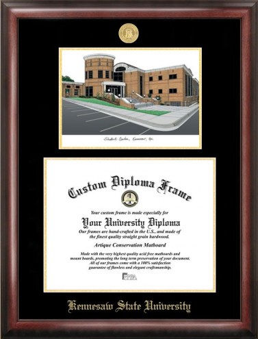Kennesaw State Owls Gold Embossed Diploma Frame with Campus Images Lithograph