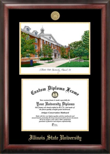 Illinois State Redbirds Gold Embossed Diploma Frame with Campus Images Lithograph