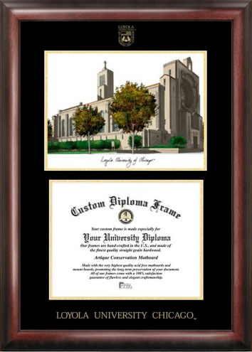 Loyola Chicago Ramblers Gold Embossed Diploma Frame with Campus Images Lithograph