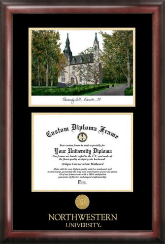 Northwestern Wildcats Gold Embossed Diploma Frame with Campus Images Lithograph