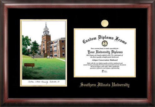 Southern Illinois Salukis Gold Embossed Diploma Frame with Campus Images Lithograph