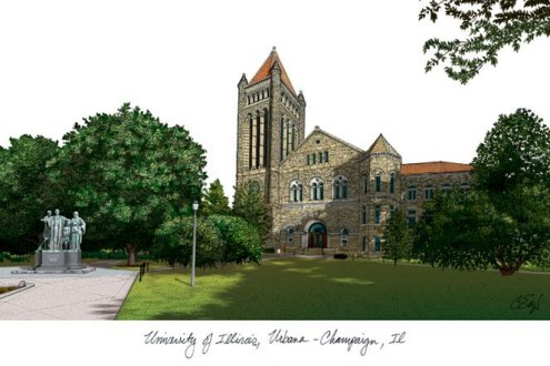 Illinois Fighting Illini Campus Images Lithograph