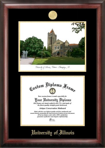 Illinois Fighting Illini Gold Embossed Diploma Frame with Campus Images Lithograph