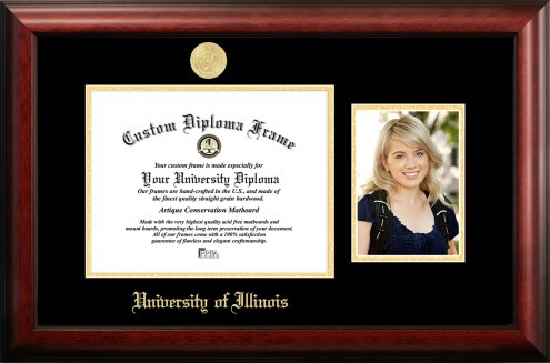 Illinois Fighting Illini Gold Embossed Diploma Frame with Portrait