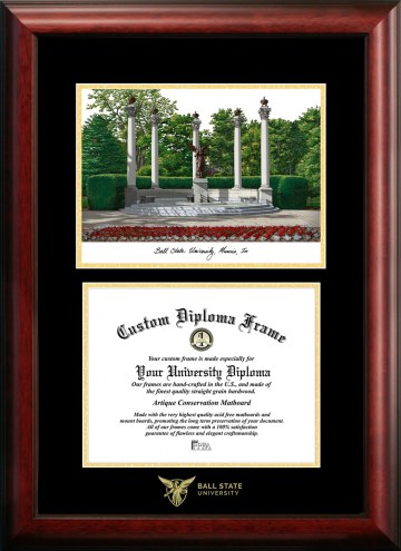 Ball State Cardinals Gold Embossed Diploma Frame with Campus Images Lithograph