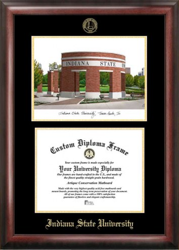Indiana State Sycamores Gold Embossed Diploma Frame with Campus Images Lithograph