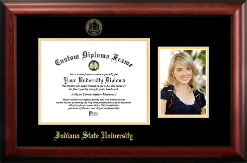 Indiana State Sycamores Gold Embossed Diploma Frame with Portrait