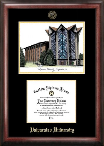 Valparaiso Crusaders Gold Embossed Diploma Frame with Campus Images Lithograph