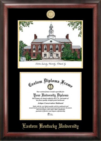 Eastern Kentucky Colonels Gold Embossed Diploma Frame with Campus Images Lithograph