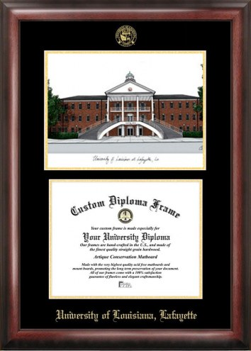 Louisiana Lafayette Ragin' Cajuns Gold Embossed Diploma Frame with Campus Images Lithograph