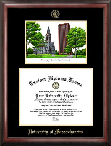 Massachusetts Minutemen Gold Embossed Diploma Frame with Campus Images Lithograph
