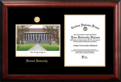 Harvard Crimson Gold Embossed Diploma Frame with Campus Images Lithograph