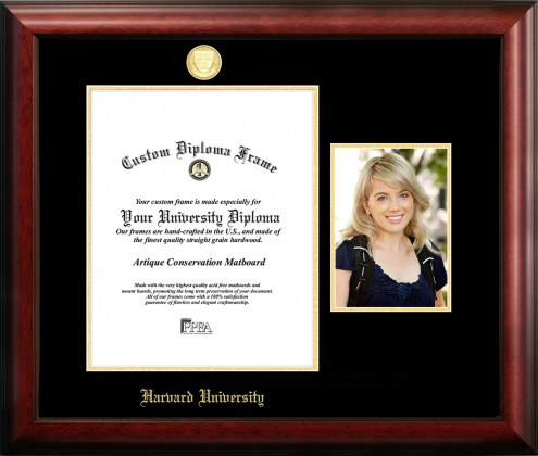 Harvard Crimson Gold Embossed Diploma Frame with Portrait