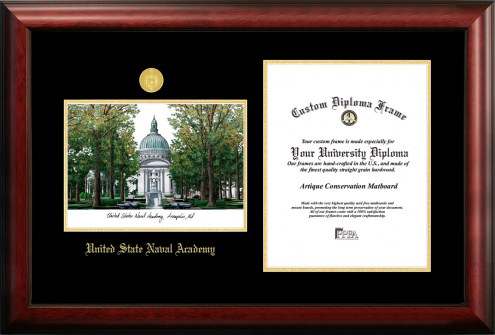 Navy Midshipmen Gold Embossed Diploma Frame with Campus Images Lithograph