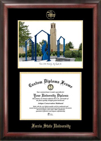 Ferris State Bulldogs Gold Embossed Diploma Frame with Campus Images Lithograph