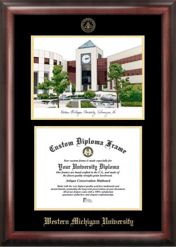 Western Michigan Broncos Gold Embossed Diploma Frame with Campus Images Lithograph