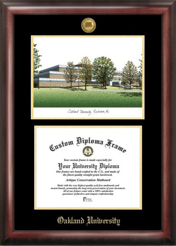 Oakland Golden Grizzlies Gold Embossed Diploma Frame with Campus Images Lithograph