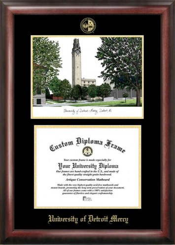 Detroit Mercy Titans Gold Embossed Diploma Frame with Campus Images Lithograph