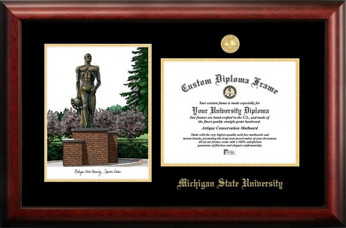 Michigan State Spartans Gold Embossed Diploma Frame with Campus Images Lithograph