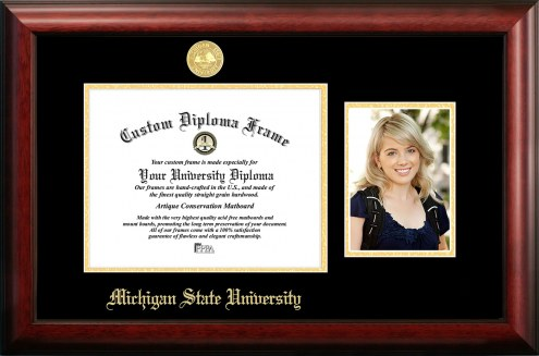 Michigan State Spartans Gold Embossed Diploma Frame with Portrait