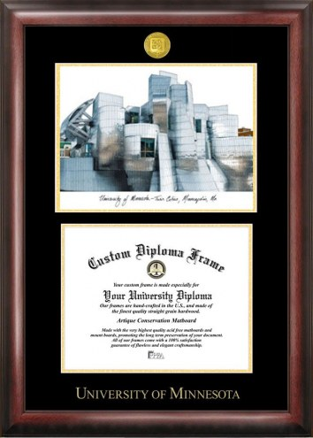 Minnesota Golden Gophers Gold Embossed Diploma Frame with Campus Images Lithograph