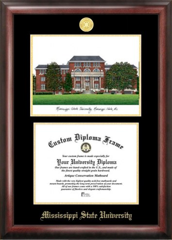 Mississippi State Bulldogs Gold Embossed Diploma Frame with Campus Images Lithograph