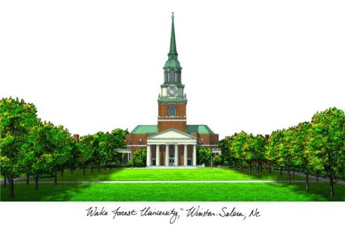 Wake Forest Demon Deacons Campus Images Lithograph