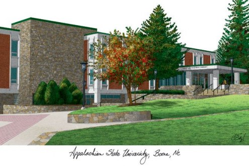 Appalachian State Mountaineers Campus Images Lithograph