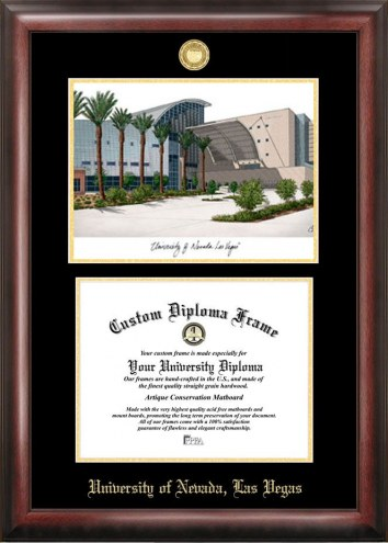 UNLV Rebels Gold Embossed Diploma Frame with Campus Images Lithograph