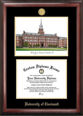Cincinnati Bearcats Gold Embossed Diploma Frame with Campus Images Lithograph