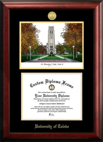 Toledo Rockets Gold Embossed Diploma Frame with Campus Images Lithograph