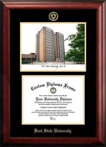 Kent State Golden Flashes Gold Embossed Diploma Frame with Campus Images Lithograph