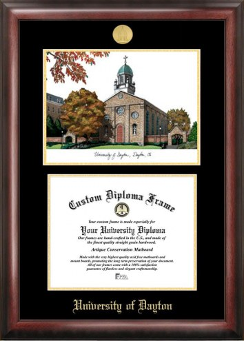 Dayton Flyers Gold Embossed Diploma Frame with Campus Images Lithograph