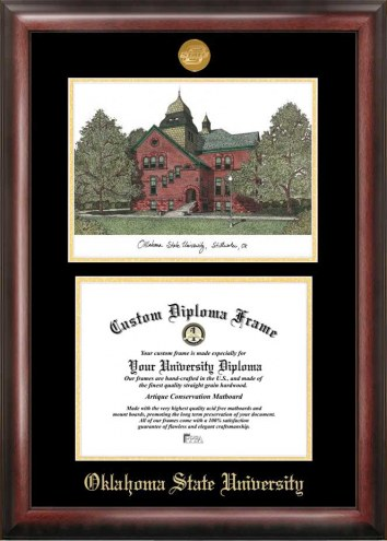 Oklahoma State Cowboys Gold Embossed Diploma Frame with Campus Images Lithograph