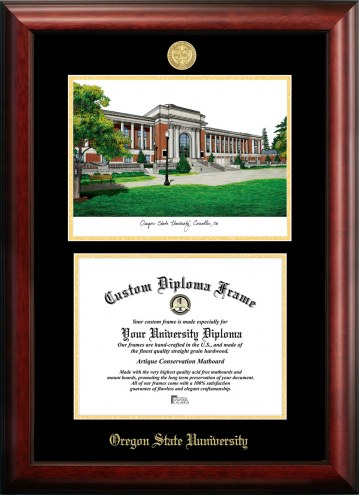 Oregon State Beavers Gold Embossed Diploma Frame with Campus Images Lithograph