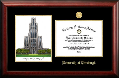 Pittsburgh Panthers Gold Embossed Diploma Frame with Campus Images Lithograph
