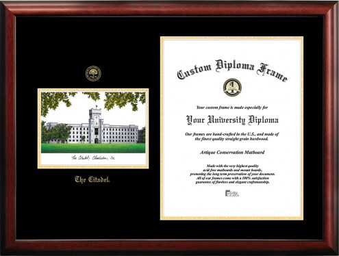Citadel Bulldogs Gold Embossed Diploma Frame with Campus Images Lithograph