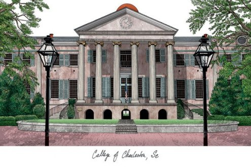 Charleston Cougars Campus Images Lithograph