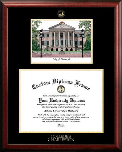Charleston Cougars Gold Embossed Diploma Frame with Campus Images Lithograph