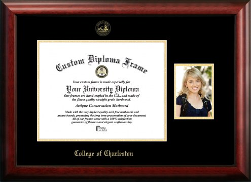 Charleston Cougars Gold Embossed Diploma Frame with Portrait