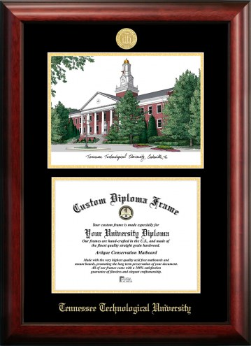 Tennessee Tech Golden Eagles Gold Embossed Diploma Frame with Campus Images Lithograph