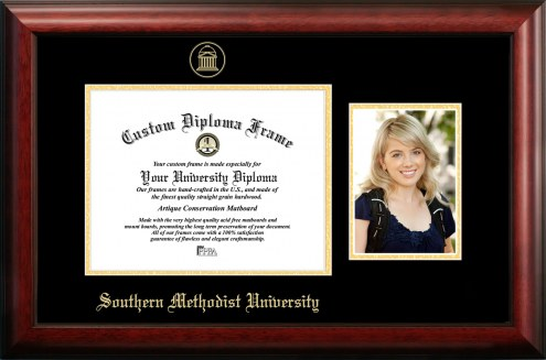 Southern Methodist Mustangs Gold Embossed Diploma Frame with Portrait