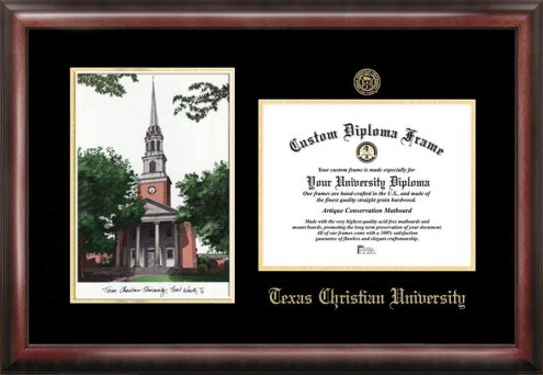 Texas Christian Horned Frogs Gold Embossed Diploma Frame with Campus Images Lithograph