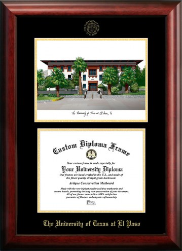 UTEP Miners Gold Embossed Diploma Frame with Campus Images Lithograph