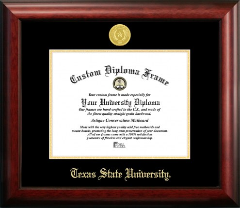 Texas State Bobcats Gold Embossed Diploma Frame