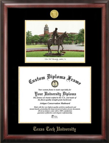 Texas Tech Red Raiders Gold Embossed Diploma Frame with Campus Images Lithograph
